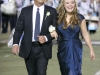 Scott McCreary walks his daughter, Joy McCreary, towards the homecoming court during the Crescenta Valley High School Home Coming Game. (Photo by Ed Hamilton / oct26, 2012)