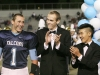 Porter Hansen, with Elliot Wilson and Stefan Kim, is surprised as he hears that he has been named king of the court at the Crescenta Valley High School Home Coming game. (Photo by Ed Hamilton / oct26, 2012)