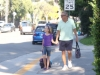A dad and his daughter make their way to Mountain Avenue on the first day of school.