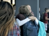Hugs were exchanged by many of the students who hadn't seen each other over the summer.