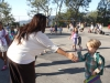 Valley View Elementary kindergartener Lucas Rittenhouse gives Principal Dr. Adriana Perstonji a high five.