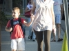 Valentina Dertsakyan walks her son, Edgar, 5, to school