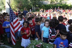 Waving the flag »Fremont Elementary School students were in their red, white and blue best during their school's Patriot Day celebration.