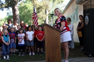 Photos courtesy of Olympia Janet-Turchin honoring the country »Fremont Elementary Principal Cynthia Livingston spoke to her students during Patriot Day.