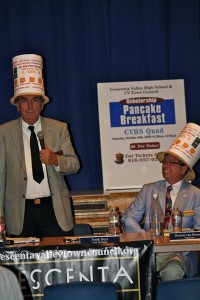 Crescenta Valley Town Council members, from left, Frank Beyt and Dennis Van Bremen have been all over the community with their stylish and unassuming hats promoting the annual CVTC Pancake Breakfast.