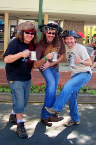 "Three beer drinking pirates take the Autobahn in from NoHo. From left Jay Schultz, Justin ""Arrrrrgh"" Brimsfield and Pete Mekis."