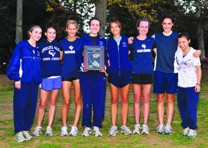 The CVHS girls cross country team took first place at the Pacific League finals on Thursday, Nov. 5. Shown here from left are Carli Opland, Brooke Moultrie, Cali King, Eliza Collison, Anneke Kakebeen, Ali Johnson, Katie Callister and Claudia Pham. Photo by Leonard COUTIN
