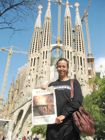 Kirstin Whitt, a 2003 Crescenta Valley High School graduate, traveled across Europe taking the Crescenta Valley Weekly with her. This is one of several places visited, the Temple Expiatori de la Sagrada Família (Expiatory Church of the Holy Family) in Barcelona. Watch for more  travels with CVW and Kirsten in future issues of the CV Weekly. Photo courtesy of the Whitt family