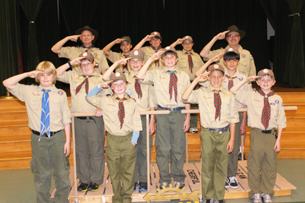 Pictured on the Arrow of Light Bridge are (bottom) Dylan Ventura, Sean Russell, Ethan Sharp, Joey Brown; center are Kyle Schmidt, Aaron Leucht, Evan Doloszycki, Alex Aceytuno; at top Den Leader Nate Brown, Kevin Melko, Cole O'Bryan, Colin McClure and Den Leader Michael O'Bryan. Not pictured: Jack Breckow.