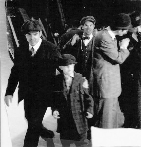 "The set of ""Titanic"" the movie with actors in front of a green screen. The little boy, in the hat and uncomfortable shoes, is reporter Charly Shelton."