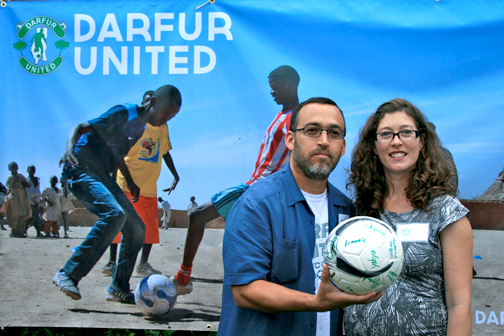 Above are iAct found Gabriel Stauring and Katie-Jay Scott Stauring. Gabriel visited various Darfur refugee camps and was inspired to start iAct. At left are photos of the players with information on how to sponsor them.