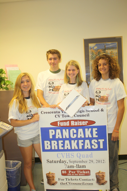 Prom Plus Club is just one of many organizations that are selling CVTC pancake breakfast tickets. From left are Isabel Repath-Martos, Brett Tyler, Briana Beck and Dylan Sylvester.