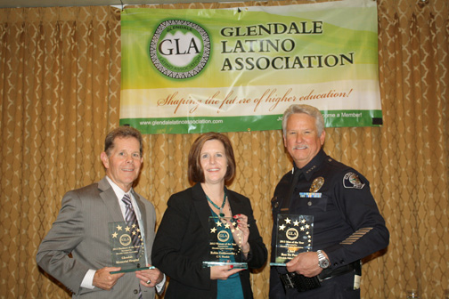 Photos by Mary O'KEEFE Honored by the Glendale Latino Association were (from left) Jack Ivey accepting for Business of the Year Glendale Memorial Hospital, Robin Goldsworthy of the Crescenta Valley Weekly and Ron de Pompa, chief of the Glendale Police Dept.
