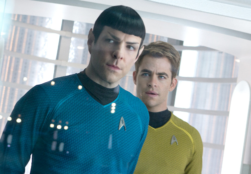 "Photo courtesy Paramount Pictures Zachary Quinto as Spock, left, and Chris Pine as Capt. James T. Kirk boldly go once again in the second J.J. Abrams' film of the franchise, titled ""Star Trek: Into Darkness."""