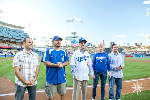 Photo by Meher Kourouyan/Reel Light Pictures Taking to the field for the second annual Glendale Dodger Night are (from left) Glendale City Councilman Zareh Sinanyan, City Manager Scott Ochoa, Character & Ethics recipient Johnny Harrison, Glendale Parks & Open Space president Dottie Sharkey and vice president Shant Sahakian.
