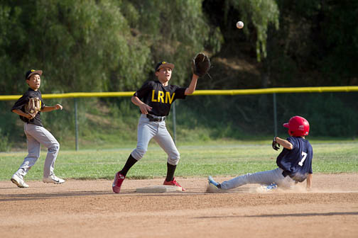 Luke Weingarten slides into second ahead of the throw in the third inning. Mason Van Kempen and Roy Choe defending.