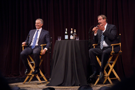 Photo by Charly SHELTON Prime Minister Tony Blair, left, and President Vincente Fox sat down to discuss the state of the world in 2023.