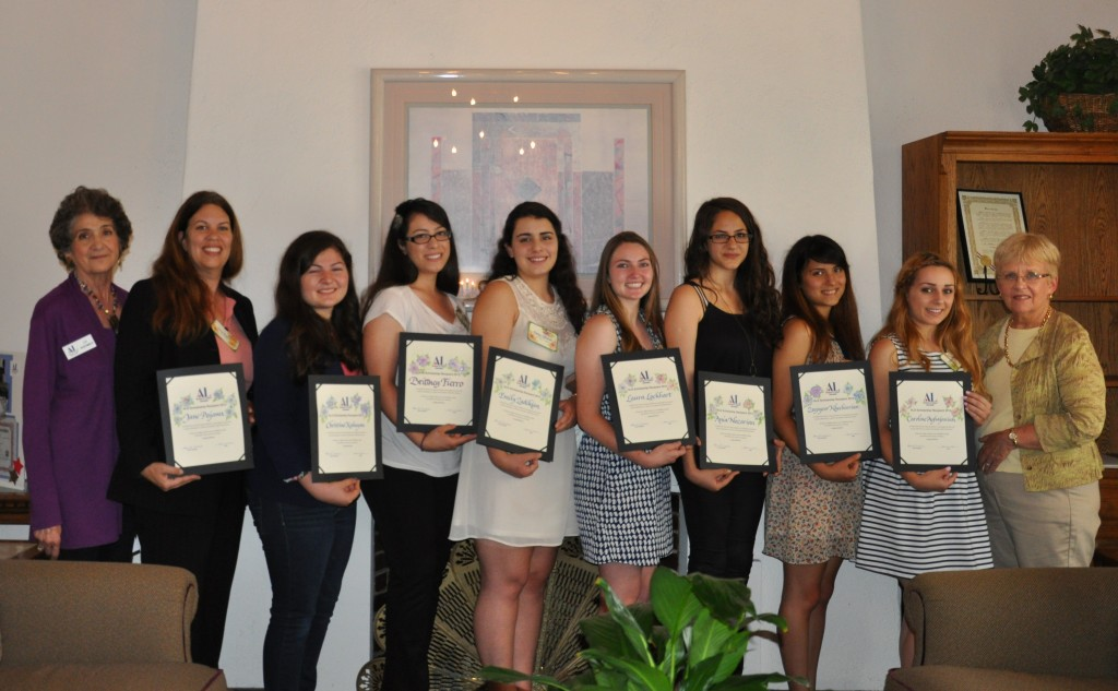 Photos courtesy of Pearl WELLS  From left are Lu Hishmeh, scholarship chairman, with recipients Jane Pojawa, Christine Kabayan, Brittney Fierro, Emily Zadikian, Laura Lockhart, Ania Nazarian, Zeepyoor Khechoorian, Caroline Aghajanian and Assistance League Glendale president Karen Millman.