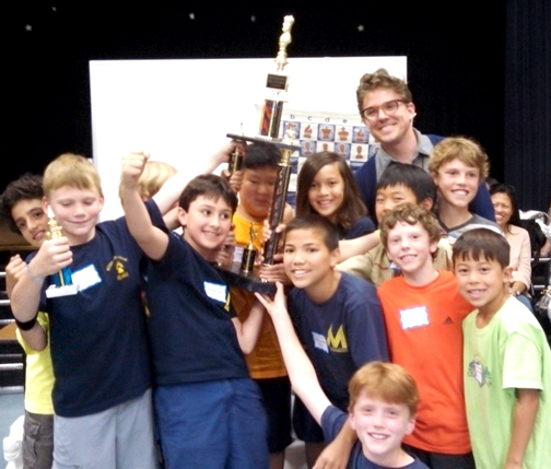 Photo courtesy of Rowena NELSON Members of the Mountain Avenue Elementary School chess club celebrate their unprecedented victory at the May 31 tournament held at Lincoln Elementary School.