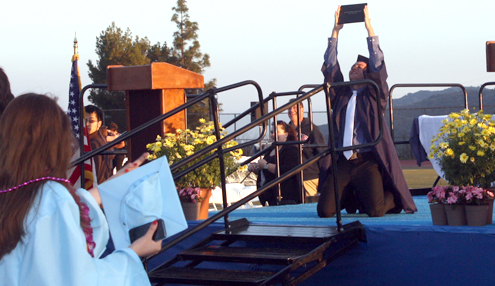 Photo by Mary O'KEEFE The Crescenta Valley High School commencement ceremony was held on its own track and field on Tuesday allowing seniors to walk the stage for the first time in a long time on their own campus.