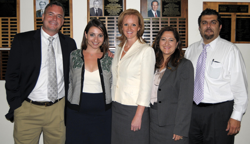 Photo by Dan HOLM A new group of principals and assistant principals were announced at the GUSD board meeting on Tuesday. From left are, Craig Lewis, assoc. principal Glendale High School, Dr. Narek Kassabian, Muir Elementary principal,  Linda Junge, CVHS principal,  Juanita Shahijanian, RD White Elementary principal and Hagop Eulmessekian, assoc. principal at Hoover High School. Not pictured is Suzanne Risse, Monte Vista Elementary principal.