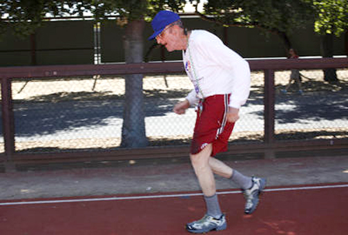 Photo courtesy of Kirstina Sangsahachart, Palo Alto Daily News Runner Ira Karp, shown training for the Senior Games in April, took first place in three running events at the state-wide Senior Games in Pasadena held on May 28.