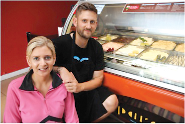Paradis owners and siblings Mark and Mia with their fresh  homemade ice creams.
