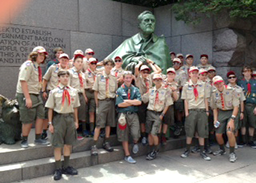 Prior to attending the National Jamboree, Troop B418 assembled at the FDR Memorial in Washington, D.C.
