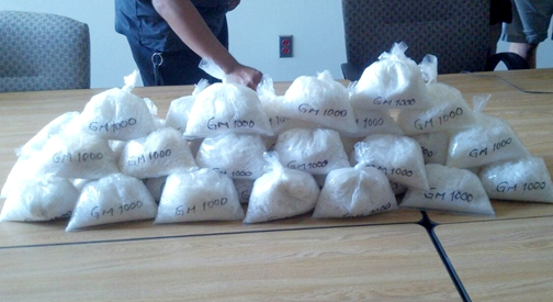 Photo provided by GPD About 40 pounds of methamphetamine was recovered after a routine traffic stop on Friday.