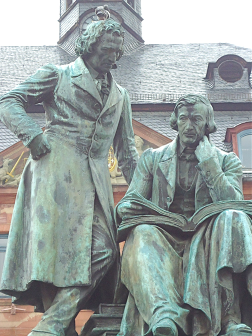 A life-sized bronze sculpture of Jacob and Wilhelm Grimm is in front of Hanau's City Hall. The brothers were born in Hanau.