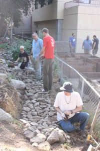 Among the projects undertaken was the installation of a rock walkway behind the Fire House.