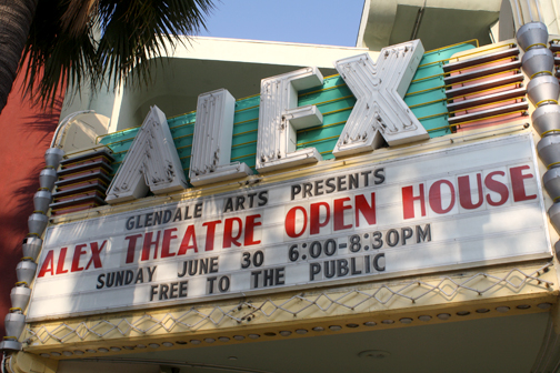 Photo by Michael YEGHIAYAN The marquee of the Alex Theatre in Glendale will post no new shows until the theatre reopens in November. The doors were closed on Sunday in preparation for major renovations to the venue.