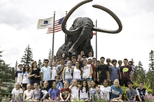 "Team picture under ""Wolley Mammoth"" at Mammoth ski lift.."