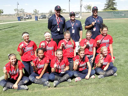 Photo by Michael HERNANDEZ Front row from left are Ally Pehar, Adela Alatraca, Marissa Gutierrez, Alyssa Alves and Clair Jackson. In the second row from left are Kendall Ebert, Taylor Hill, Paige Baker, Taylor Hughes and Bella Hernandez. Not pictured is second baseman Michele Peterson. The 16U team is managed by Doug Ebert with assistant coaches Brian Alves, Chris Boone and Kevin Hughes.