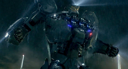 "Photo Courtesy Warner Bros. Jaeger 'Striker Eureka' squares off against a giant sea monster, or kaiju, in ""Pacific Rim""."