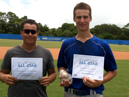 La Crescenta residents Montana Ramirez (left) and Walter Harris were named as All-Stars to IMG Academy's summer high school wood bat league.