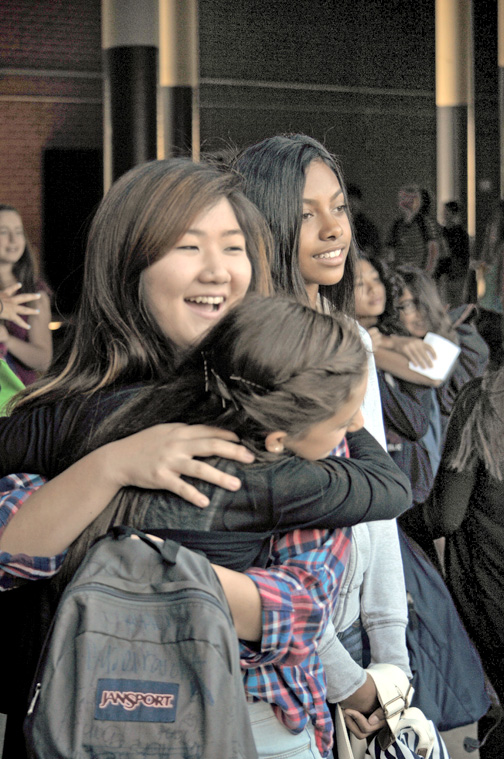 Plenty of hugs were shared on all local school campuses as students greeted each other on the first day of school.