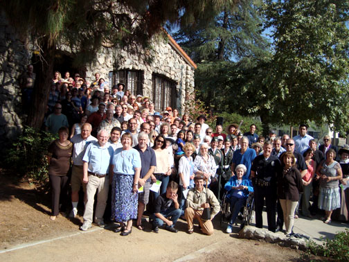 Residents of Tujunga gathered in front of Bolton Hall, recreating a photo from 1913 taken at the first Dedication Day for the hall.