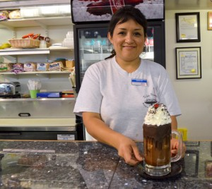 Edith Morales serves a sweet treat to beat the heat.