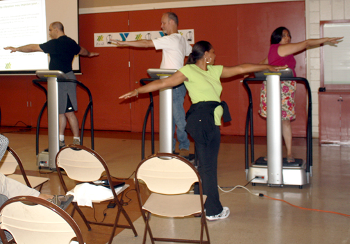 Photos by Molly SHELTON Y members are guided on how to use the newly installed Zaaz machines. Zaaz reportedly improves a person's circulation, flexibility and balance.
