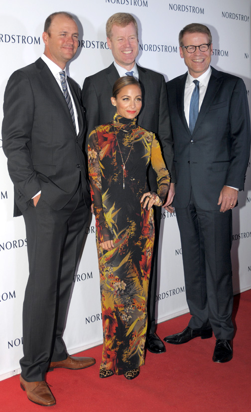 Among the dignitaries were (above left) Jamie, Erik and Blake Nordstrom with Nicole Richie.