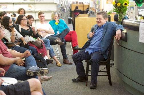 Photo by Gary Leonard, courtesy of the LFLA Actor and comedian Patton Oswalt kept the audience smiling while encouraging them to (at least) attempt to read Melville's classic.