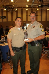 LASD School Resource Officer Deputy Scott Shinagawa, left, and Sgt. Burton Brink from the CV Sheriff's Station were honored at the State of the Schools breakfast.
