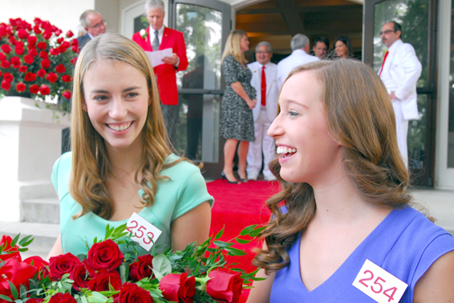 Photo by Michael J. ARVIZU Katherine Diane Lipp, left, and Elizabeth Katie Woolf are all smiles after having been chosen to the seven-member 2014 Tournament of Roses Royal Court. The two 17-year-old young women are students at La Cañada High School.