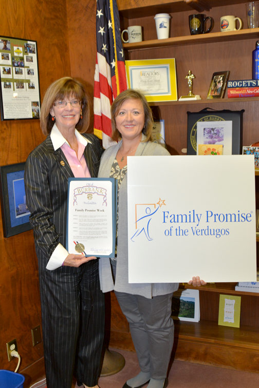 From left Burbank Mayor Emily Gabel-Luddy presenting Kimberly Rhodes, executive director of Family Promise of the Verdugos, with a proclamation naming Oct. 20 -27 as Family Promise Week in the City of Burbank.