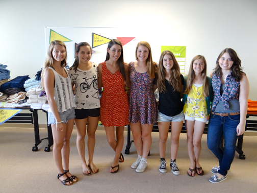 "Photo by Jodi POWERS NCL Glendale Class of 2015 Ticktockers hosted a ""shopping party"" where United Friends of the Children foster youth chose dorm essentials prior to leaving for college. From left are Caroline Bender, Emily Develle, Rosie Markowicz, Caroline Kenney, Cassy Quiring, Missy Horner and Paige Realmuto."