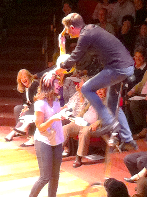 Photo by Robin GOLDSWORTHY Comedian Ron Pearson demonstrated that he had no fear of props while hopping onto a unicycle (with the help of an audience member) at the 22nd Annual Fritz Coleman Comedy Night Sunday at the Glendale Centre Theatre. Proceeds benefitted the American Red Cross.