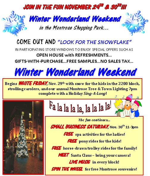 Shop & Dine in Montrose for Winter Wonderland Weekend.