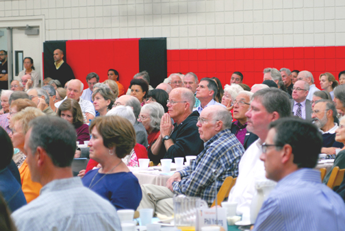 Photographs by Michael J. ARVIZU Guests listen to the keynote address given by Father Greg Boyle during the annual Community Prayer Breakfast at YMCA of the Foothills on Thursday.
