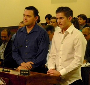 Photo by Ted AYALA Owner Ole Olson, left, and waiter Chris Santillo of Montrose based Italian restaurant, Guisseppe's, were honored by the Glendale City Council for their meatballs and their fundraising efforts.